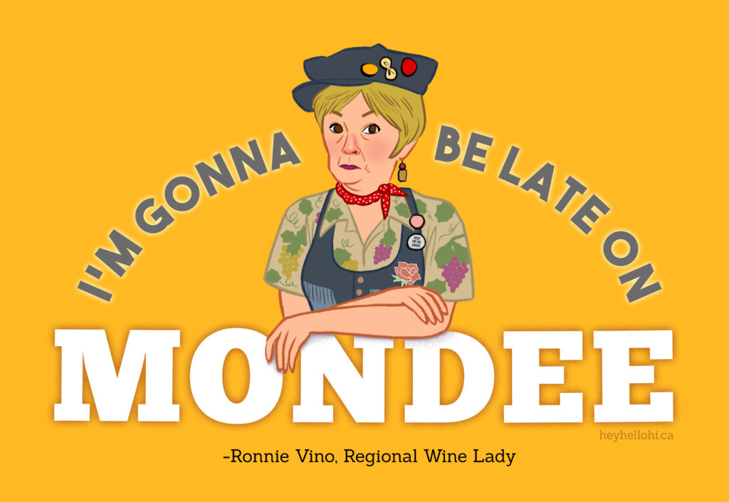 Illustration of Amy Sedaris' character Ronnie Vino, Regional Wine Lady from her series At Home with Amy Sedaris